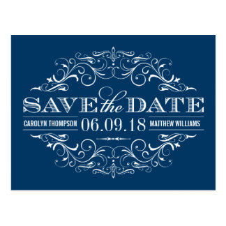 Navy Blue Save the Date | Swirl and Flourish Postcard