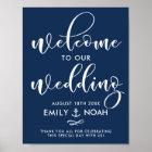 Navy Blue Script Nautical Wedding Welcome Sign