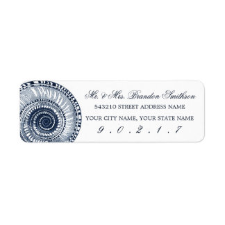 Navy Blue Sea Shell Address Label