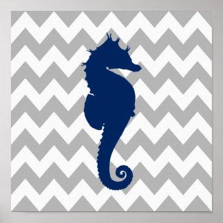 Navy Blue Seahorse Gray and White Chevron Poster