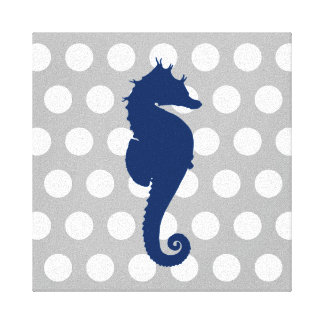 Navy Blue Seahorse Gray and White Polka Dots Canvas Print