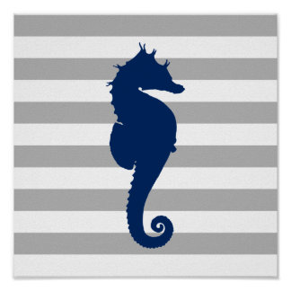 Navy Blue Seahorse Gray and White Stripes Poster