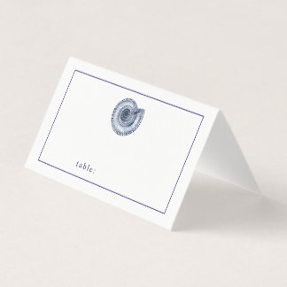 Navy Blue Seashell Blank Table Guest Place Card