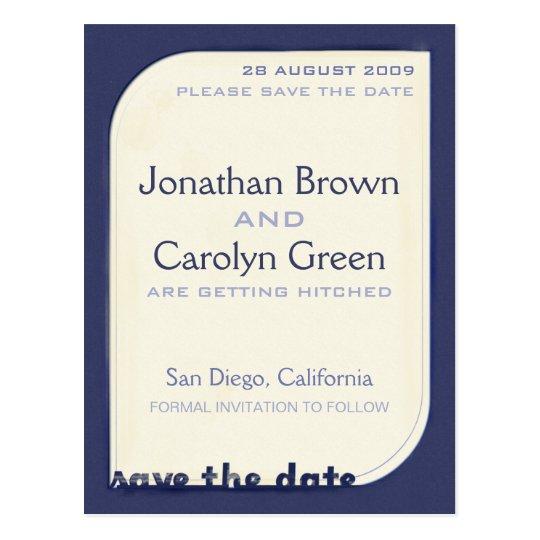 Navy Blue Shapeform Save the Date Postcard