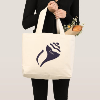 Navy blue shell large tote bag