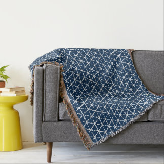 Navy Blue Shibori Geometric Tessellation Throw Blanket