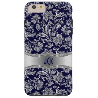 Navy Blue & Shiny Silver Damasks Tough iPhone 6 Plus Case