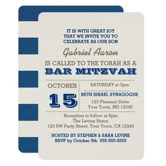 Navy Blue & Silver Bar Mitzvah Invitation