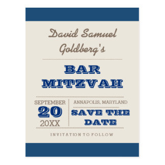 Navy Blue & Silver Bar Mitzvah Save the Date Postcard