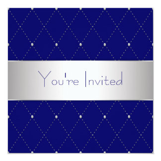 Navy Blue Silver Blue Corporate Party Card