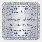 Navy Blue Silver FAUX Foil Wedding Favour Sticker