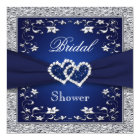 Navy Blue, Silver Floral, Hearts Bridal Shower Card