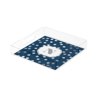 Navy Blue Silver Glitter City Dots Monogram Tray