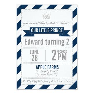 Navy Blue Silver Glitter Prince Birthday Invite