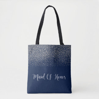 navy Blue Silver Glitter Wedding Maid of Honor Tote Bag
