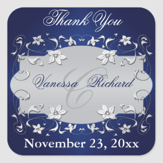 Navy Blue Silver Gray Floral Wedding Favor Sticker