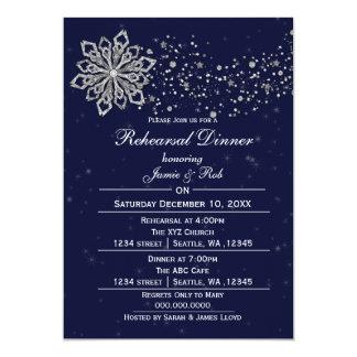 Navy Blue Silver Winter Rehearsal Dinner invite