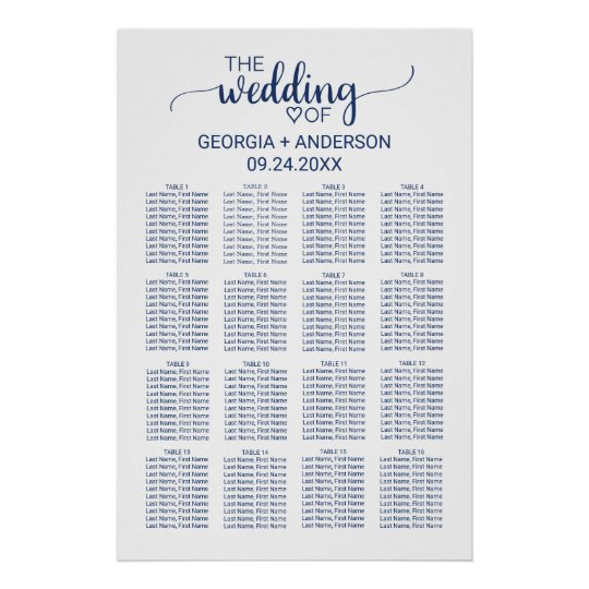 Navy Blue Simple Calligraphy Wedding Seating Chart