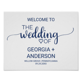 Navy Blue Simple Calligraphy Wedding Welcome Poster