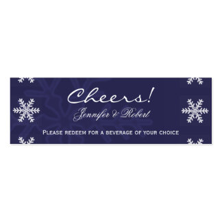 Navy Blue Snowflake Winter Wedding Drink Tickets Mini Business Card