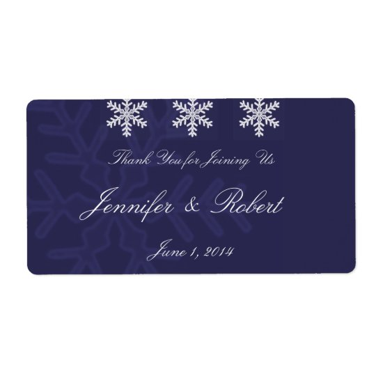 Navy Blue Snowflake Winter Wedding Water Label Shipping Label