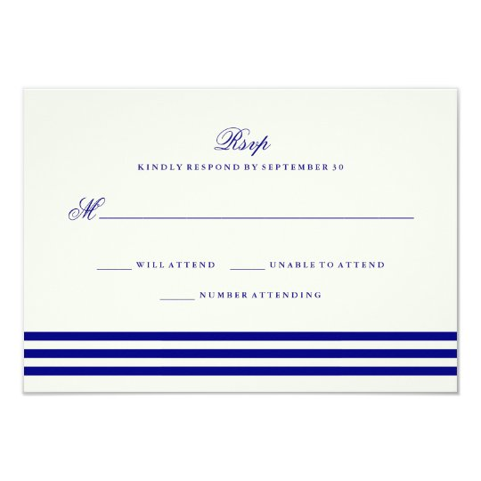 Navy Blue Sophisticated Stripes Wedding RSVP Card