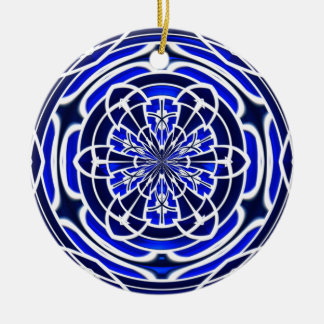 Navy blue stained glass window ceramic ornament