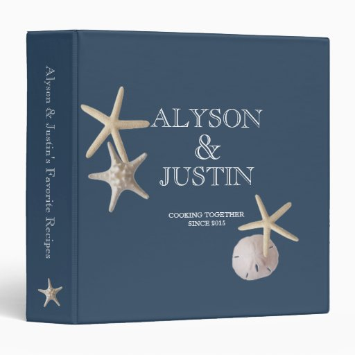 Navy Blue Starfish and Sand Dollar Recipes 3 Ring Binders