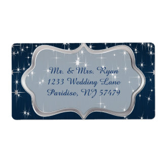 Navy Blue Starry Night Shipping Label