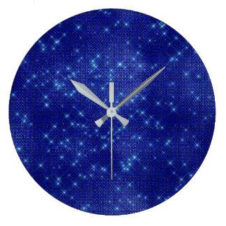 Navy Blue Stars Sequin Metallic Diamond Sparkly Large Clock