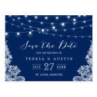 Navy Blue String Lights Elegant Lace Save the Date Postcard