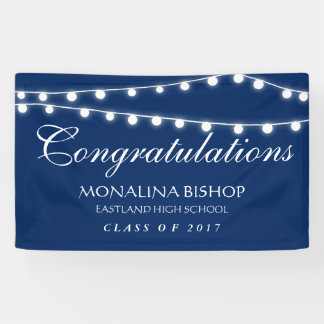 Navy Blue String Of Lights Congratulation Graduate Banner