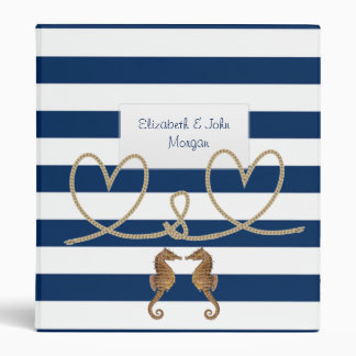 Navy Blue Striped,Heart,Sea horses -Personalized Binder