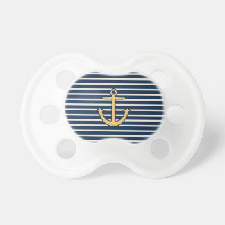 Navy Blue Stripes Anchor Pacifier