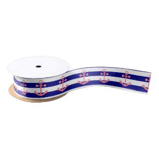 Navy Blue Stripes and Blush Pink Nautical Anchor Satin Ribbon