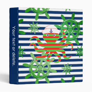 Navy blue stripes and octopus vinyl binder