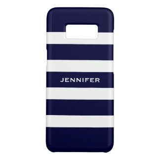 Navy Blue Stripes Changeable White Background Case-Mate Samsung Galaxy S8 Case