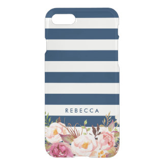 Navy Blue Stripes   Elegant Floral Girly iPhone 8/7 Case
