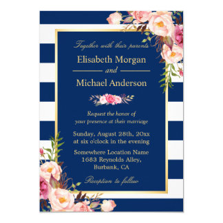 Navy Blue Stripes Floral | Classy Formal Wedding Card