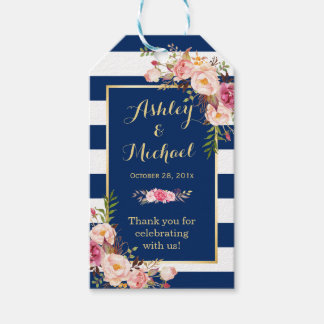 Navy Blue Stripes Floral Wedding Thank You Pack Of Gift Tags