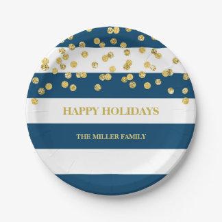 Navy Blue Stripes Gold Confetti Christmas Plates