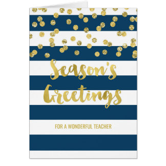 Navy Blue Stripes Gold Confetti Christmas Teacher Card
