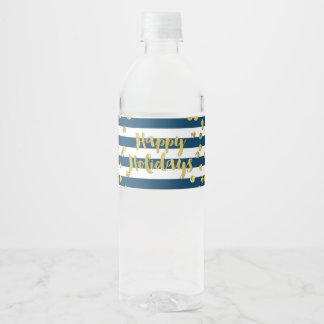 Navy Blue Stripes Gold Confetti Happy Holidays Water Bottle Label