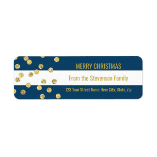Navy Blue Stripes Gold Confetti Merry Christmas Return Address Label