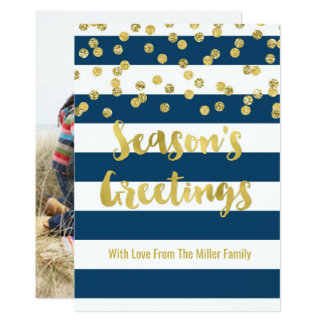 Navy Blue Stripes Gold Confetti Season's Greetings Card