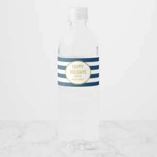 Navy Blue Stripes Gold Custom Happy Holidays Water Bottle Label