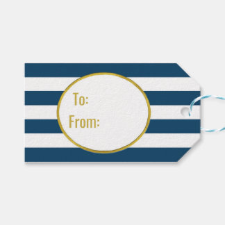 Navy Blue Stripes Gold Merry Christmas Gift Tags