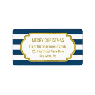 Navy Blue Stripes Gold Merry Christmas Label