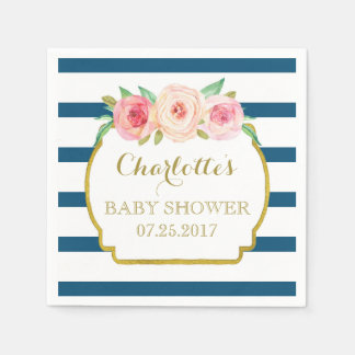 Navy Blue Stripes Gold Pink Floral Baby Shower Paper Napkins