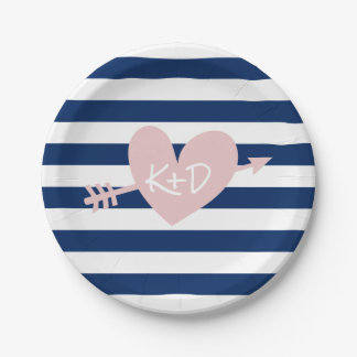 Navy Blue Stripes Heart & Arrow Nautical Wedding Paper Plate